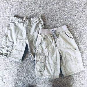Two pairs boys khaki cargo shorts